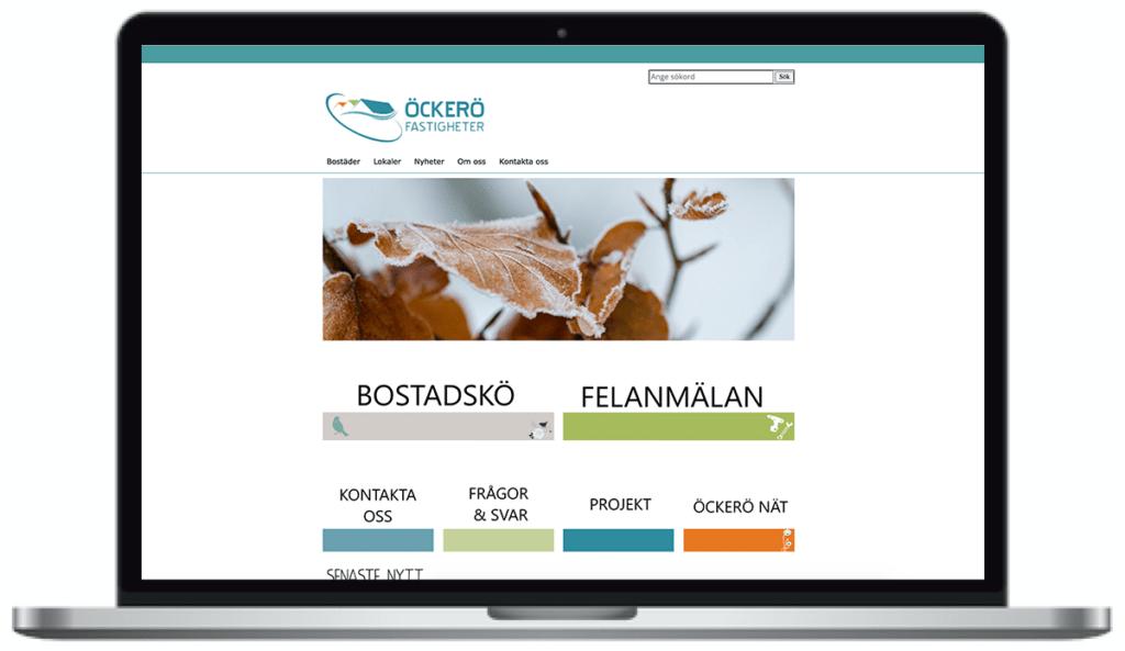 Öckerö fastigheters webbplats, skärmbild