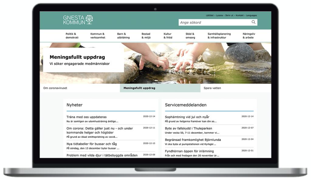 Gnesta kommuns webbplats, skärmbild
