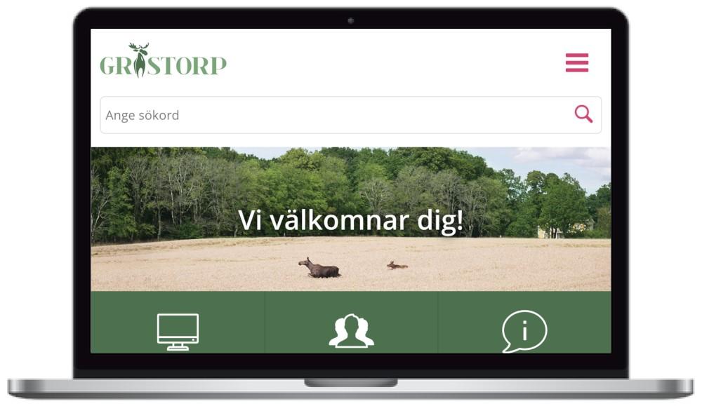 Grästorps kommuns webbplats. skärmbild