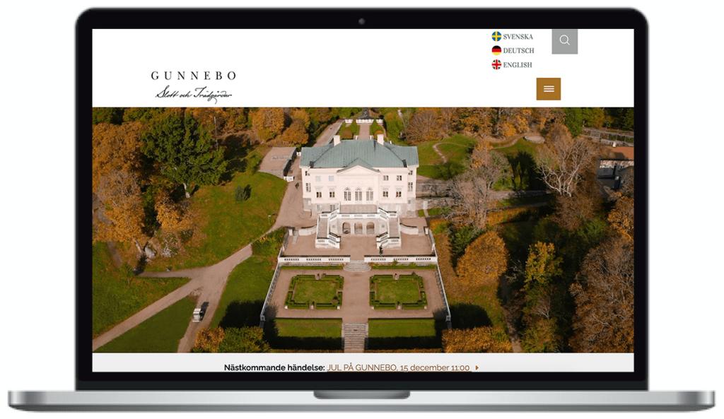 Gunnebo Slotts webbplats. skärmbild