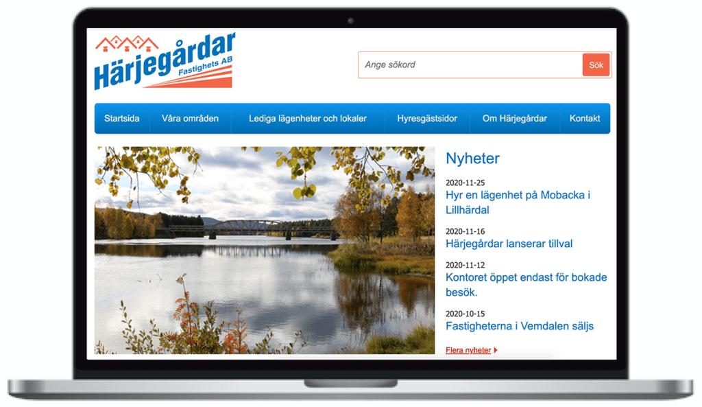 Härjegårdars webbplats. skärmbild