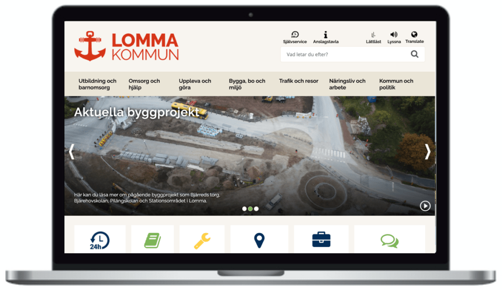 Lomma kommuns webbplats, skärmbild