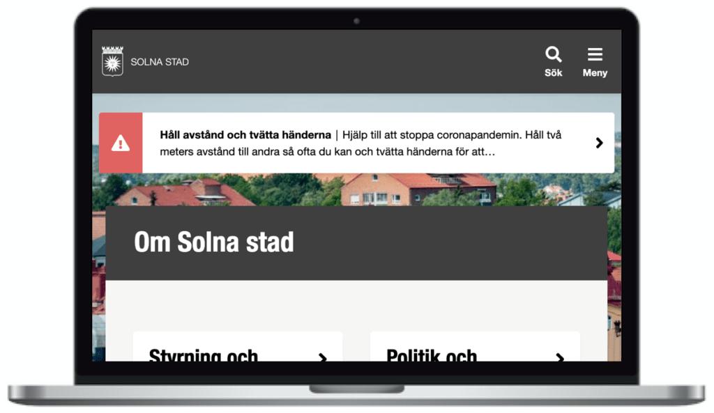 Solna stads webbplats, skärmbild