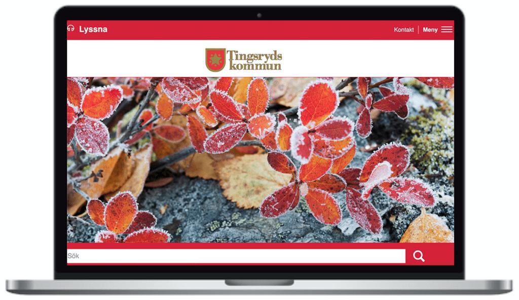 Tingsryds kommuns webbplats, skärmbild