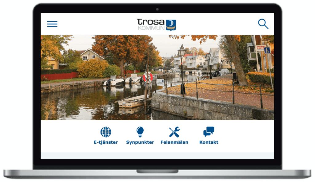 Trosa kommuns webbplats, skärmbild