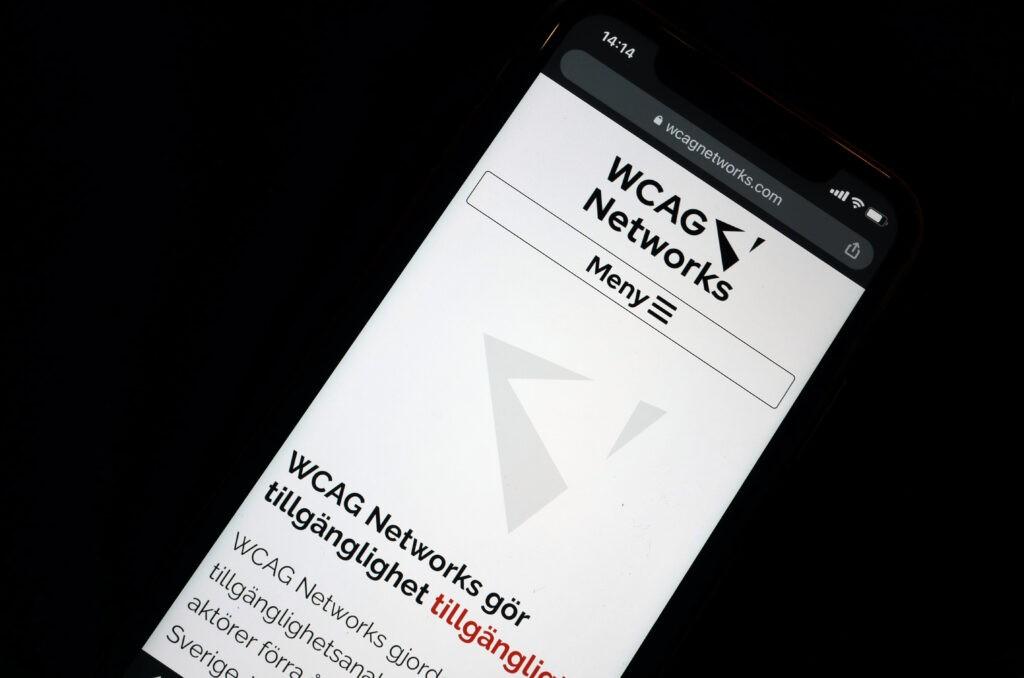 WCAG Networks webbplats i mobil.