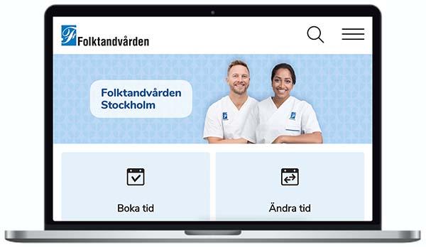 Folktandvårdens webbplats skärmbild.