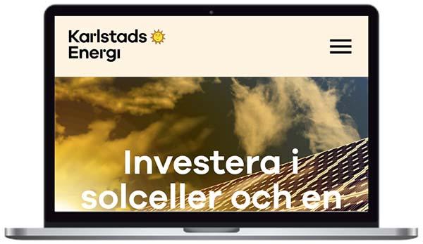 Karlstads Energi webbplats skärmbild.