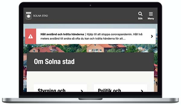 Solna webbplats skärmbild.